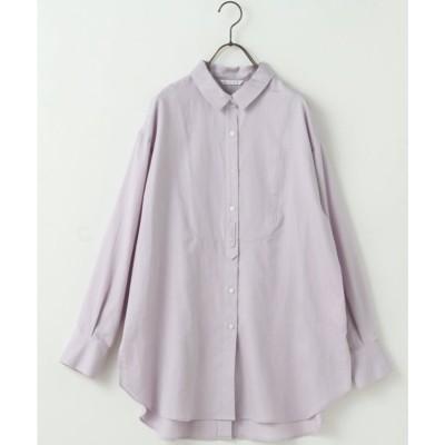 ミューカ mjuka コットンサテンドレスシャツ (ラベンダー)