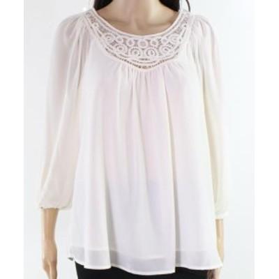 ファッション トップス Context NEW White Ivory Womens Size Medium M Gathered Crochet Blouse