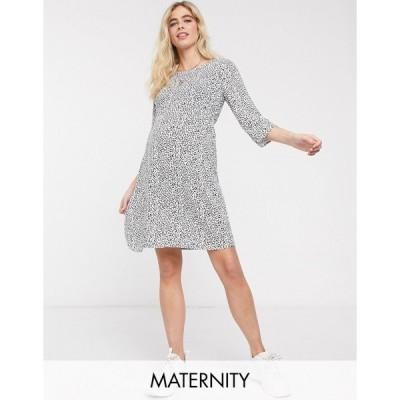 ママライシアス レディース ワンピース トップス Mamalicious Maternity mini dress in white abstract print Multi