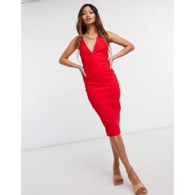 ベスパー レディース ワンピース トップス Vesper bodycon midi dress in red