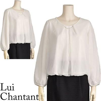 シフォン ブラウス 白 スーツインナー ボリューム袖 トップス Lui Chantant 40代