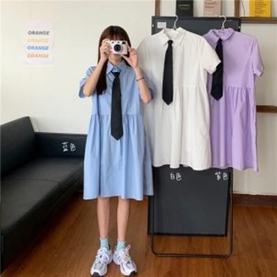 プチプラ 韓国 ファッション レディース ワンピース 夏 ネクタイ付き シャツワンピース 半袖 ひざ丈スカート カジュアルスタイル スクー