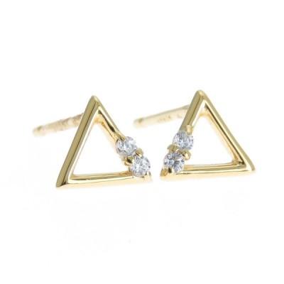 ダイヤモンドピアス K10 10金 三角 トライアングル