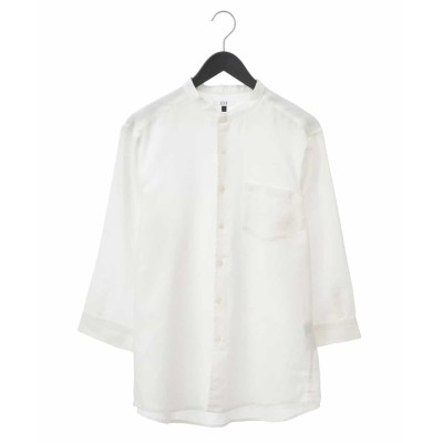 (a.v.v (MEN)/アーヴェヴェメンズ)【吸水速乾】イージーケアバンドカラ-7分袖シャツ[WEB限定サイズ]/メンズ ホワイト