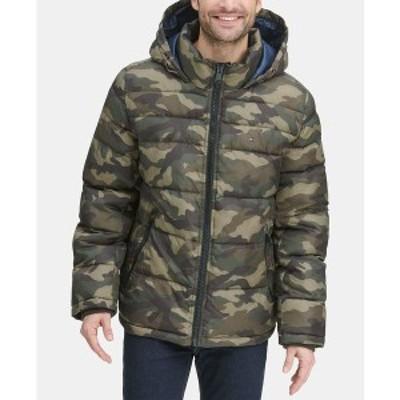 トミー ヒルフィガー メンズ ジャケット&ブルゾン アウター Men's Quilted Puffer Jacket Camo Green