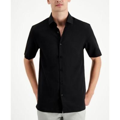アルファニ メンズ シャツ トップス Men's Solid Short Sleeve Shirt