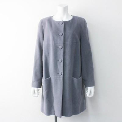 agnes b. アニエスベー ウールアンゴラ ノーカラーコート 40/グレー アウター 羽織り 2400011573056