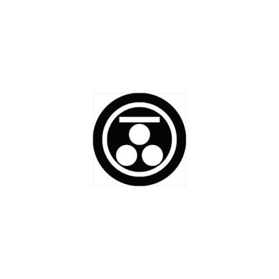家紋シール 丸に一文字に三つ星紋 直径4cm 丸型 白紋 4枚セット KS44M-0441W