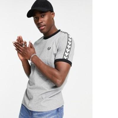 フレッドペリー メンズ シャツ トップス Fred Perry taped ringer T-shirt in light gray Light gray