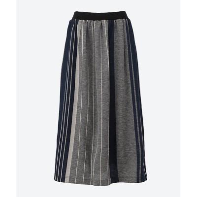 <KEI Hayama PLUS(Women)/ケイハヤマプリュス> 幅なり3色ストライプジャカードスカート ネイビー(61)【三越伊勢丹/公式】