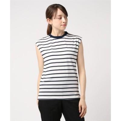tシャツ Tシャツ 先染めボーダーピケノースリーブTシャツカットソー