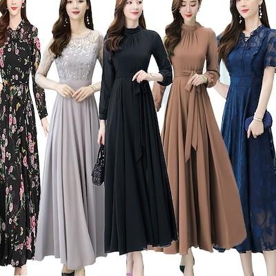 超目玉韓国ファッション 美シルエットレース長袖シフォンロングワンピース結婚式パーティー ドレス
