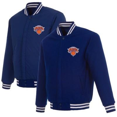 """メンズ ジャケット """"New York Knicks"""" JH Design Reversible Embroidered Wool Full-Snap Jacket - Royal"""