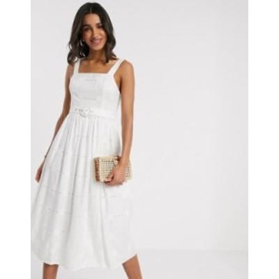 エイソス レディース ワンピース トップス ASOS DESIGN daisy broderie midi sundress with self belt in white White