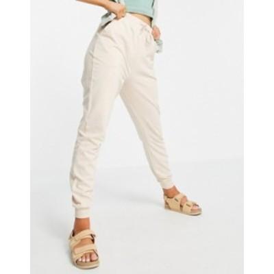 エイソス レディース カジュアルパンツ ボトムス ASOS DESIGN basic sweatpants with tie in organic cotton in stone Stone