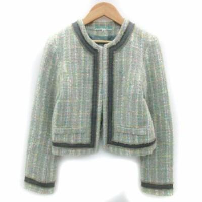 【中古】CITRUS CYPRE ジャケット ノーカラー ショート丈 ツイード ウール 36 マルチカラー グリーン レディース