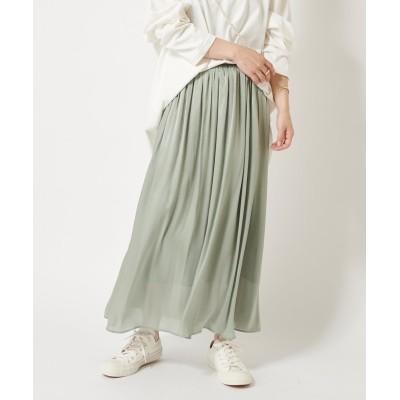 【上品で細やかな光沢感】シャイニーギャザースカート