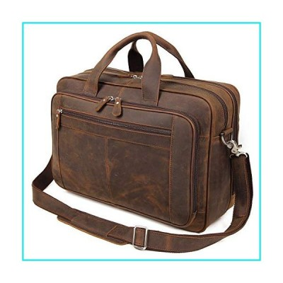 Augus Business Travel Briefcase Genuine Leather Duffel Bags for Men Laptop Bag fits 15.6 inches Laptop (Dark brown)【並行輸入品】