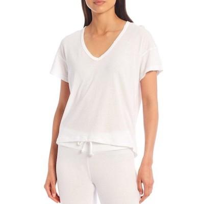 ワイルドフォックス レディース Tシャツ トップス Knit Chrissy V-Neck Short Sleeve Tee Clean White