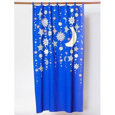 【チャイハネ】 夜空に輝く月星カーテン178cm ユニセックス ブルー Free CAYHANE