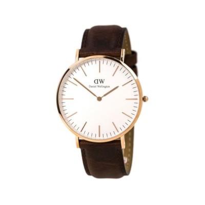 腕時計 ダニエルウェリントン Daniel Wellington 0106DW Men's White Dial Brown Leather Band Watch