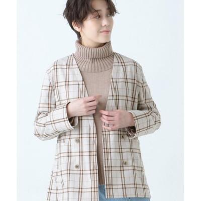 【シェアパーク】 チェックシャツジャケット レディース ベージュ系3 0 SHARE PARK