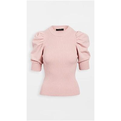 クルーネック セーター カーディガン レディースEn Saison Puff Sleeve Sweater TopPink