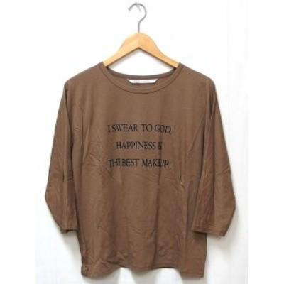 【中古】イェッカヴェッカ YECCA VECCA Tシャツ カットソー 七分袖 丸首 英字 F モカ 茶 /C  レディース