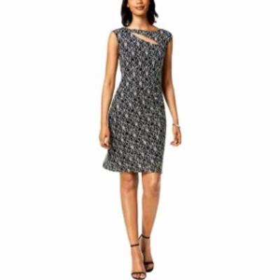 ファッション ドレス Connected Apparel Womens Black 8P Petite Sequined Cutout Sheath Dress