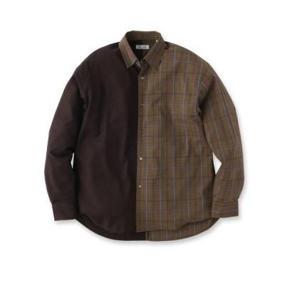 tk.TAKEO KIKUCHI(ティーケー タケオ キクチ)ハーフ&ハーフチェックシャツ