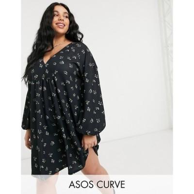 エイソス レディース ワンピース トップス ASOS DESIGN Curve long sleeve v neck mini dress in black with yellow ditsy floral print