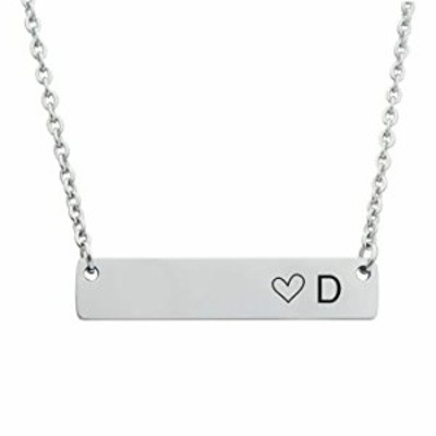 CHENVA Bar Initial Necklace for Women Stainless Steel Bar Pendant with Engraved Alphabet A-Z Letter Necklaces (Bar Necklace D)