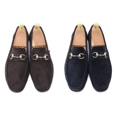 GLENFORD ハンドメイド 本革 スエード ビット ローファー マッケイ製法 スリッポン 紳士靴 ブラック ダークブラウン S831