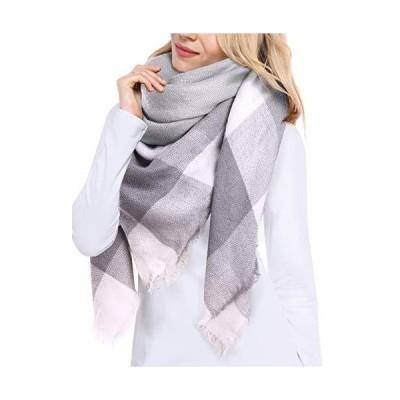 Bess Bridal Women's Plaid Blanket Winter Scarf Warm Cozy Tartan Wrap Oversized Shawl Cape【並行輸入品】