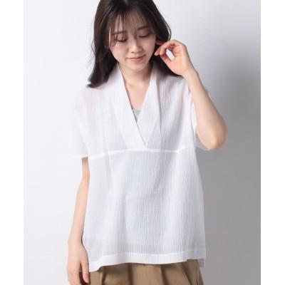 【アバン】 綿しわ加工ブラウス レディース ホワイト 38 AVANT