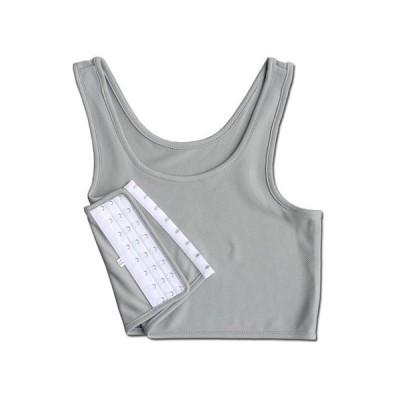 ポリエステル製 3段フック式 胸潰し ナベシャツ 男装コスプレ 吸湿性/灰色/Mサイズ