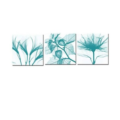 Visual Art Decor Canvas Wall Art Abstract Teal Flowers Painting Canvas Prints Framed and Stretched Floral Picture Home Bedroom Bathrooom Wal