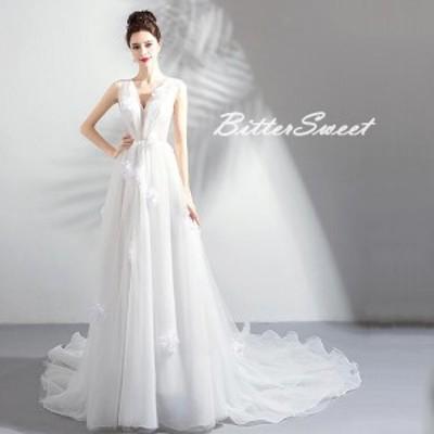 ウェディングドレス 結婚式 ウエディング スレンダー 編み上げ ロングトレーンタイプ 【ホワイト】【XS~XXXL】【wd103ts】