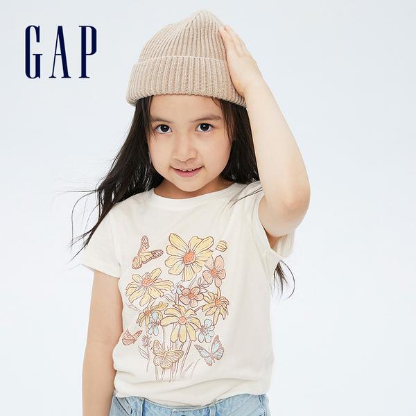 Gap女童 清新花卉印花短袖T恤 740158-白色