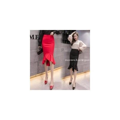 スカート レディース 裾フレア ペンシルスカート タイトスカート とろみスカート 落ち感 ひざ丈 ミディアム ロング フレアスカート オフィスカジュアル オフィ…
