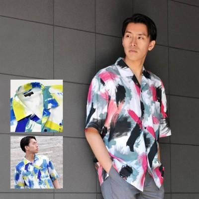 シャツ メンズ カジュアル 半袖 開襟 オープンカラー プリント 青 M L XL ピンク ブルー イエロー ビッグシルエット