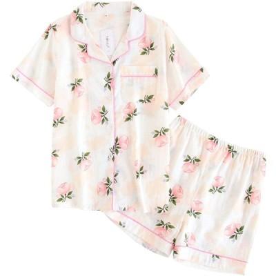 レディース パジャマ 人気 半袖 長袖 花柄 綿100 二重 ガーゼ 上下 セット パジャマ 部屋着 前開き 便利服 入院服 (L, 半袖)