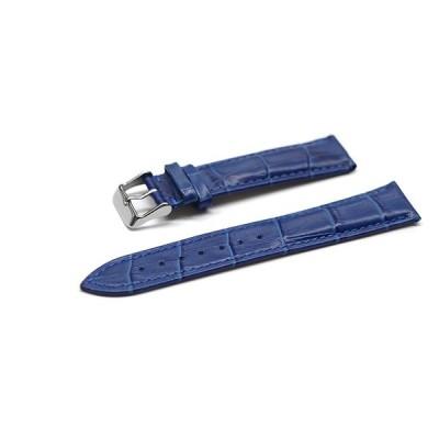 腕時計 ベルト 16mm 17mm 18mm 19mm 20mm 21mm 22mm 24mm レザー クロコダイル型押し 牛 革 青 ピンバックル シルバー l001bu-n-s