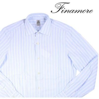 【39】 FINAMORE フィナモレ 長袖シャツ メンズ ストライプ ブルー 青 並行輸入品 カジュアルシャツ