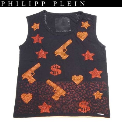 """【送料無料】 フィリッププレイン(PHILIPP PLEIN) レディース ラインストーン ハート カットソー 半袖 """"heart money gun"""" CW340104 02 black 14S"""