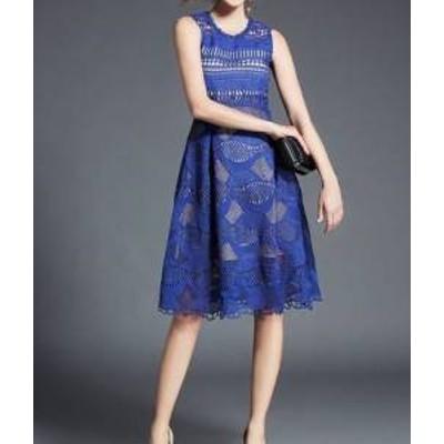 ドレス ワンピース ひざ丈 ノースリーブ 20代 青 白 フレア シースルー フォーマル 上品 春夏 結婚式 お呼ばれ a458
