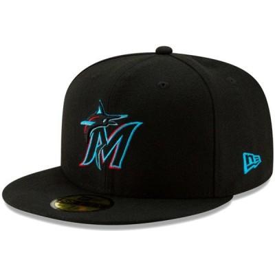 ニューエラ キャップ 帽子 NEW ERA 59FIFTY MLB オンフィールド マイアミ・マーリンズ ブラック