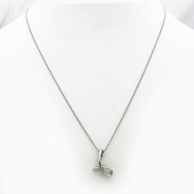 【中古】Pt850 ダイヤ ネックレス D 0.45ct