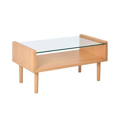 オーエスジェイ(OSJ) ローテーブル ディスプレイ 強化ガラス 北欧スタイル ナチュラル 80X43X40cm