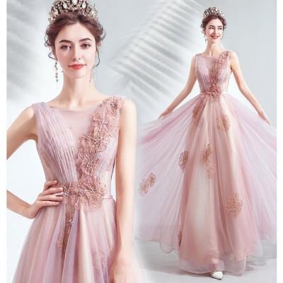 人気 ロングドレス 二次会 披露宴 結婚式 演奏会 発表会 コンサート ステージ 舞台ドレス 可愛いドレス ドレス ピンク 花 ウエディング ステージ衣装